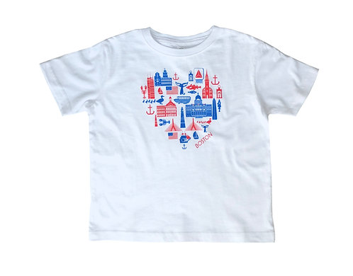 White Toddler Boston Icons tourist attraction t-shirt