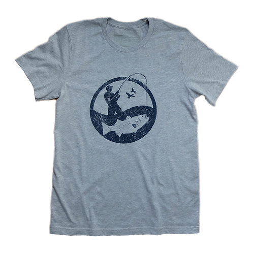 Heather grey fisherman logo t-shirt
