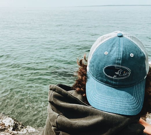 Vintage Blue Bluefish Trucker Cap by the