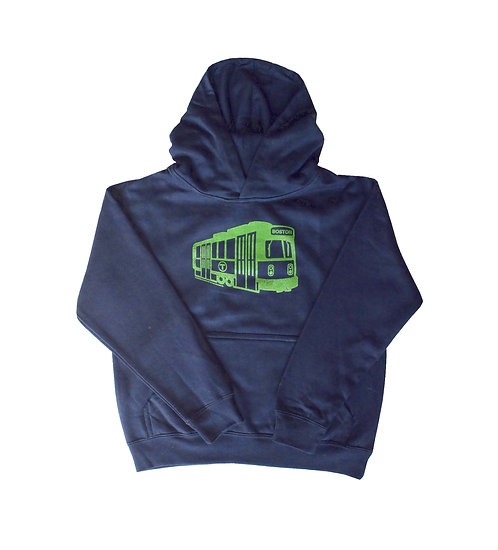 Blue Boston MBTA Green Line Trolley Hoodie for Boys and Girls