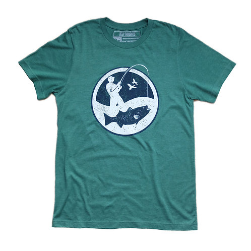 Heather green tee with navy and white round fisherman logo