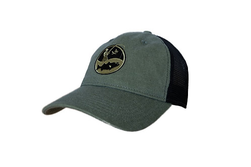 Green and black vintage wash fisherman logo trucker cap