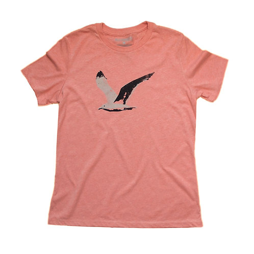 heather sunset orange women's seagull graphic tee