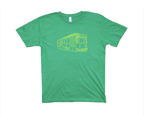 Heather Green and Lime Adult Boston Green Line Trolley T-shirt on sale