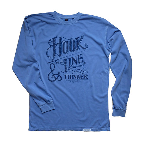 Garment dye periwinkle blue long sleeve fisherman tee