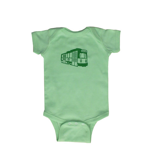 mint green Boston MBTA Green Line Trolley infant onesie creeper