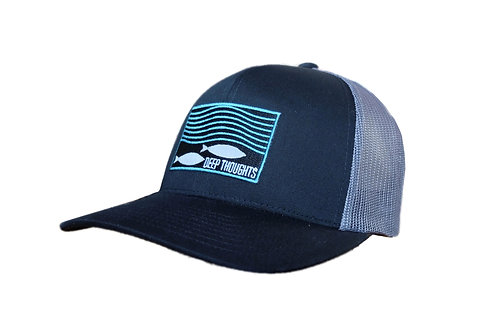 Black and Grey Embroidered Patch Trucker Hat for Fishermen