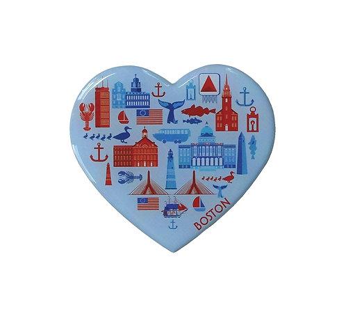 Heart Boston Souvenir Magnet