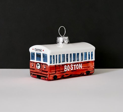 Red Line Glass Holiday Ornament