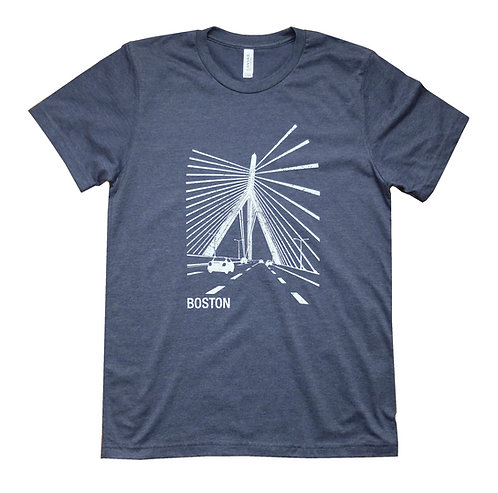 Boston Zakim Bridge Navy Blue T-shirt