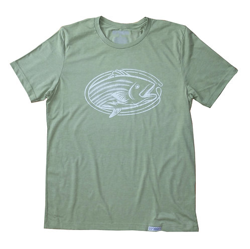 heather green tee with white vintage striped bass fishing graphic