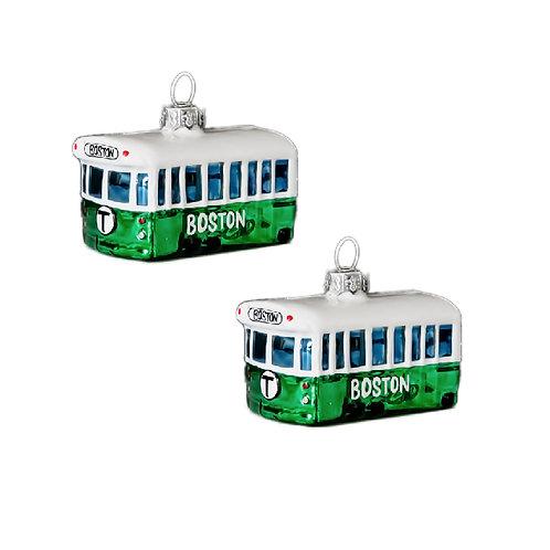 Two Glass Boston MBTA Christmas Ornaments