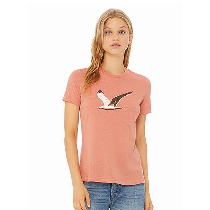 Model wearing heather sunset orange seag