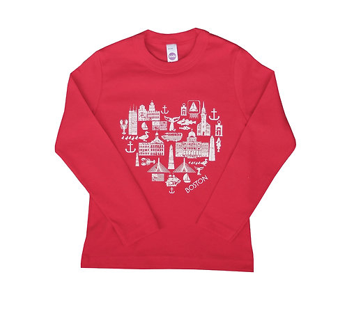 Red Boston Icons Landmark Shirt for Toddlers