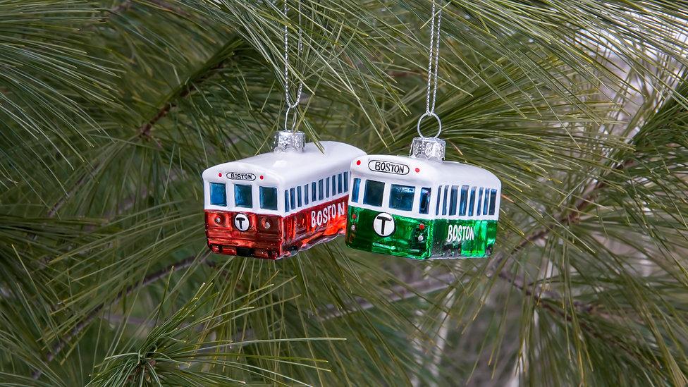 MBTA Train Ornaments Hanging in Tree