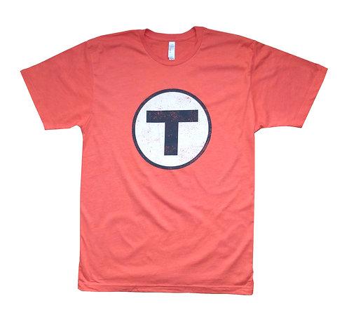 Orange Adult Boston MBTA T Logo t-shirt