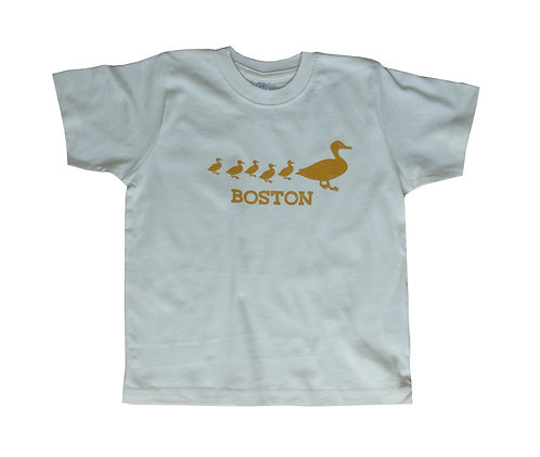 Natural Color Toddler Boston Ducklings Graphic T-shirt - Golden Brown Print on Off White Fabric