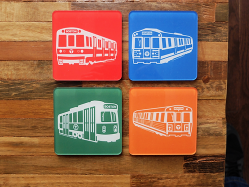 Set of Four MBTA Boston Acrylic and Cork Drink Coasters