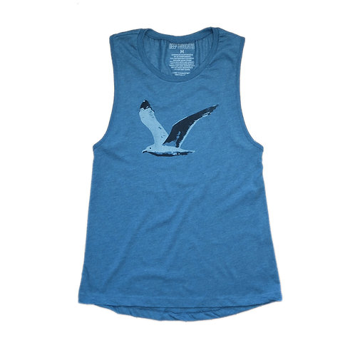 women's heather teal flying seagull graphic tank top