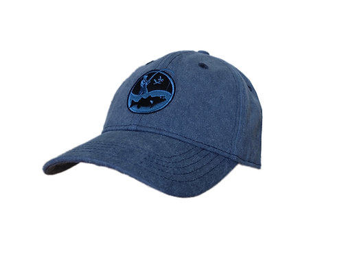Solid Blue fishing logo hat with black and blue embroidered logo