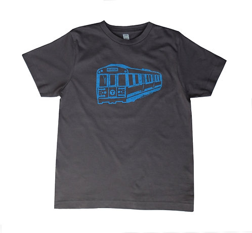 Charcoal Gray Youth Size Boston MBTA Blue Line Train T-shirt