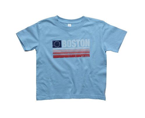 Light blue Boston flag banner toddler t-shirt
