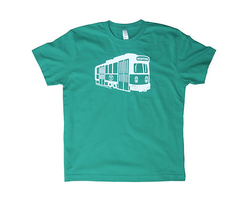 Green Youth Size Boston MBTA Green Line Trolley T-shirt