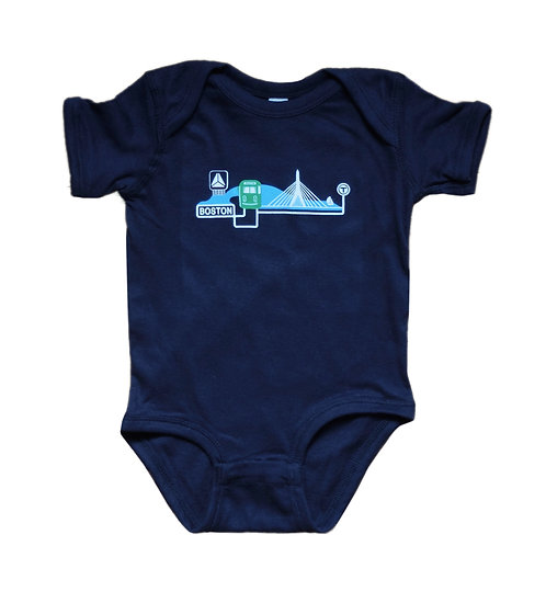 Navy Blue Onesie with Boston Trolley, Zakim and Citgo Sign