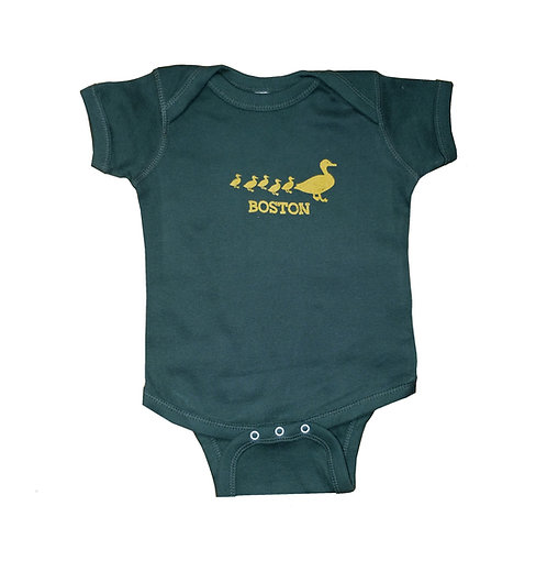 Forest green Boston Ducklings onesie | creeper for infants