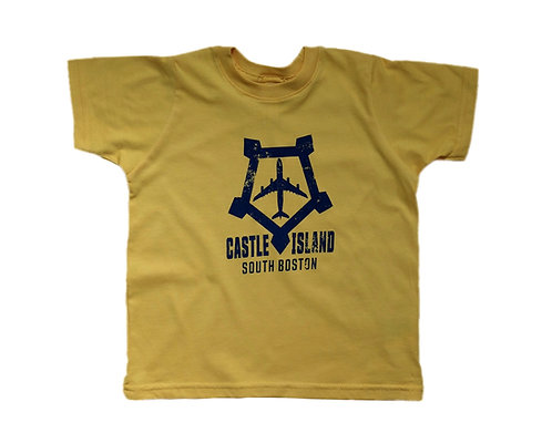 Toddler Gold Boston Castle Island Airplane Logo T-shirt