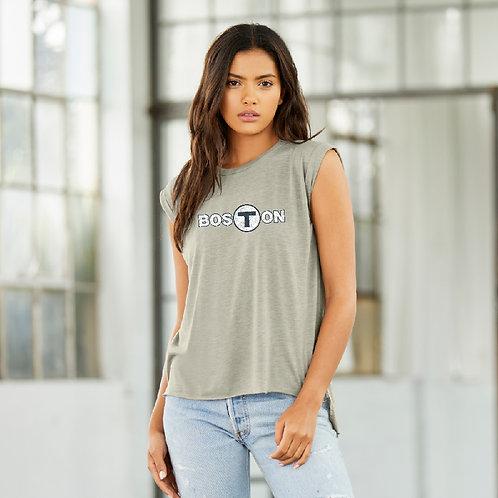 Women's Boston T-Logo Tank Top - Heather Stone