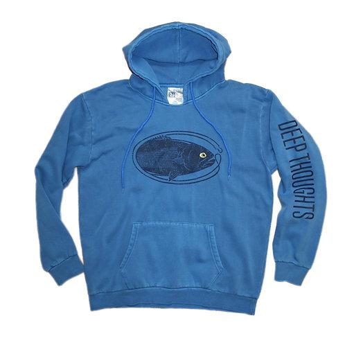 Vintage wash garment dye bluefish fishing hooded sweatshirt
