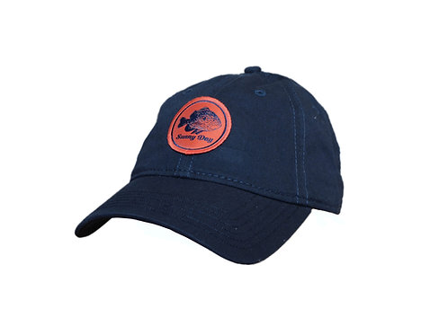 bluegill sunfish patch hat - navy blue and orange