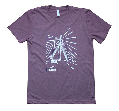 Boston Zakim Bridge Heather Maroon T-shirt