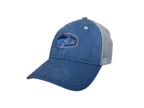 'Mean Eye Blue' Trucker Hat - Vintage Ocean Blue / Grey