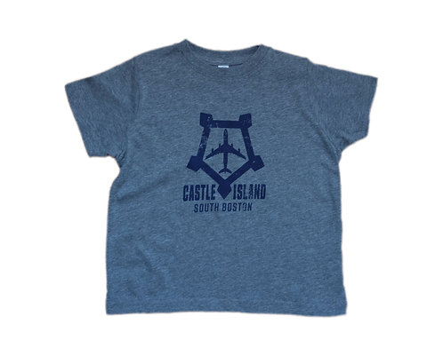 Toddler Heather Grey Boston Castle Island Airplane Logo T-shirt