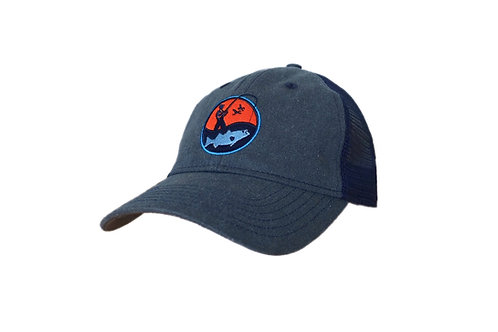 Embroidered Charcoal Navy Morning Fisherman Logo Cap