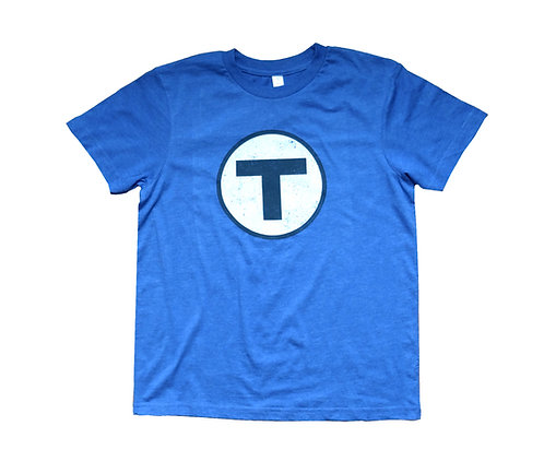 Youth MBTA Logo T-Shirt - Vintage Royal Blue