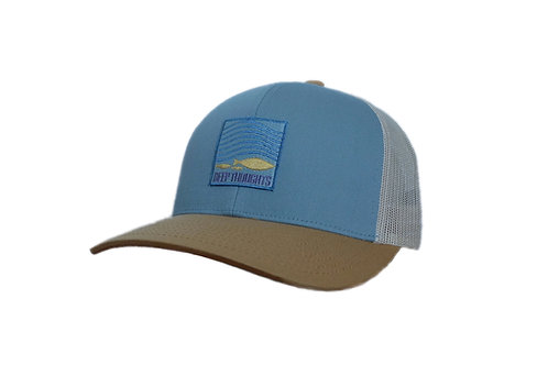 Smoke Blue and Beige Coastal Trucker Hat