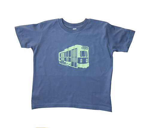 Indigo blue Boston Green Line Trolley t-shirt for toddlers