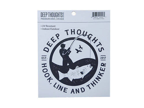 Round Blue and White Deep Thoughts fisherman logo vinyl sticker