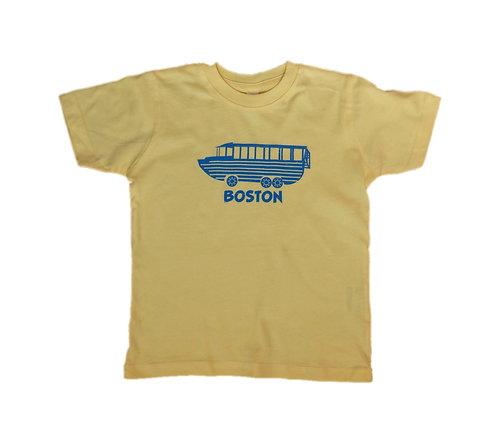 Yellow Boston kids souvenir t-shirt with blue duckboat graphic