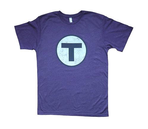 Purple Adult Boston MBTA T Logo t-shirt