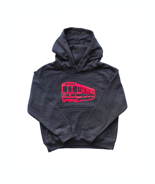 Heather Charcoal Boston MBTA Red Line Train Hoodie for Boys and Girls