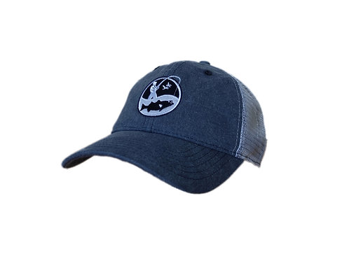 Vintage navy blue and white fisherman logo trucker cap