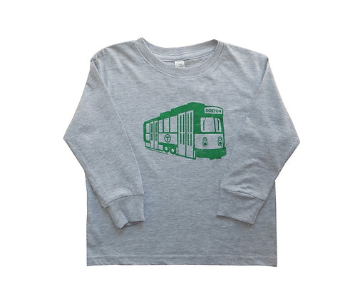 Grey Toddler MBTA Green Line Trolley long sleeve shirt