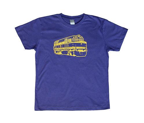Purple Youth Size Boston MBTA Commuter Rail Locomotive T-shirt