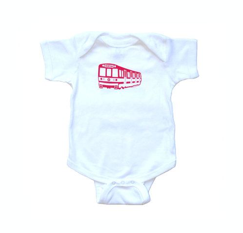 Cute Boston MBTA Red Line Train infant onesie creeper