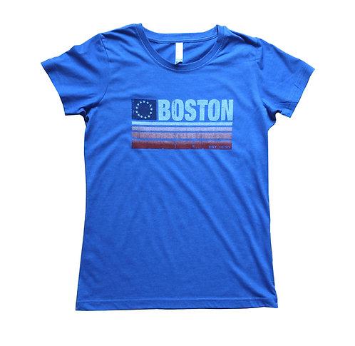 Heather Royal Blue Women's Boston Flag Banner t-shirt