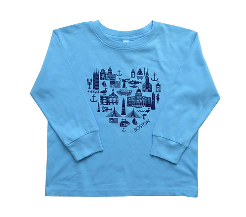 Toddler Heart Boston Long Sleeve T-Shirt - Blue